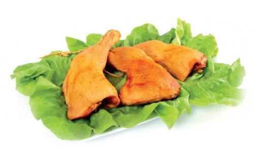 Smokde chicken leg quarters